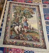 Antique 19c French Hand Woven Cross Stitch Tapestry Wall Hanging 45 By 56