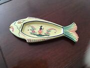 Hb Quimper France Yellow With Image Ofyoung Breton Women Fish Plate. Size 11x5