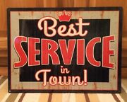 Best Service In Town Garage Shop Mancave Gas Oil Vintage Look Bottle Wall Can