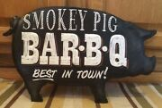 Smokey Pig Bar B Q Best In Town Metal Signs Cafe Vintage Style Grill Restaurant