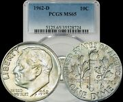 1962-d Roosevelt Dimes Pcgs Ms65 Lightly Toned