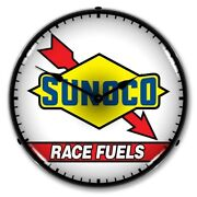 Retro Nostalgic Sunoco Race Fuels Game Room Man Cave Led Lighted Wall Clock New