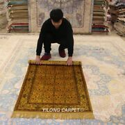 Yilong 3and039x5and039 Golden Handmade Carpets Antique Bedroom Hand Knotted Silk Rug G65ab