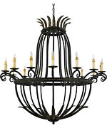 Quoizel Lighting Wrought Iron 16 Chandelier Leaf Accents Antiqued Candle Sleeves