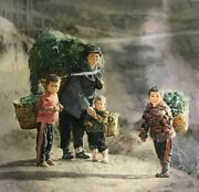 """""""helping With The Harvest"""" By Zhang Xing. Original Oil Painting On High Quality"""