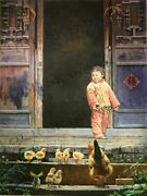 Andldquoyoung Girl With Her Chickensandrdquo By Zhang Xing. Original Oil Painting On High Qua