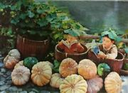 """""""reading In The Pumpkin Patch"""" By Zhang Xing. Original Oil Painting On High Qua"""