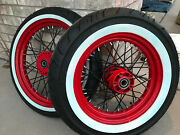 84-99 Harley Softail Dyna Wide Glide Wheel Set 16 And 21 Red Powder Coated W Tires