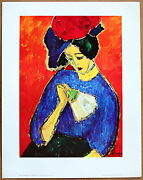 Alexie V Jawlensky Woman With Fan Original 1st Print Limited Ed.1960 Lithograph