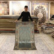 Yilong 3and039x5and039 Blue Hand-knotted Classic Silk Carpet High Density Parlor Rug 281h