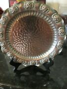 """Vintage Gregorian Hand Hammered Solid Copper Wall Hanging Plate Tray 10"""""""