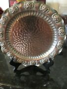 Vintage Gregorian Hand Hammered Solid Copper Wall Hanging Plate Tray 10andrdquo