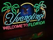 Yuengling Welcome To Florida Beach Palm Trees Beer Bar Neon Light Sign 24x20