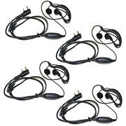 4x Hqrp G Shape 2 Pin Earpiece Headsets Ptt Mic For Kenwood Series Radio Devices
