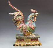 Chinese Bronze Cloisonne Feng Shui Zodiac Chicken Chook Rooster Statue
