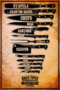 Vintage Metal Tin Signs Knife Types Retro Poster Butcher Shop Art Wall Decor