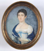 Peter Mayr 1758-1836 Lady In White Empire Gown Fine Miniature Ca. 1810