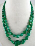 Natural Untreat Emerald Nugget Beads 2 Line 274 Cts Precious Gemstone Necklace