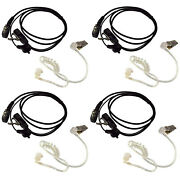 4x Hands Free Headsets W/acoustic Tube Earpiece And Ptt Mic For Yaesu Series Radio