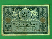 Authentic Germany 20 Mark Banknote. 4 November 1915. Good Condition.
