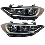 For 17-18 Elantra Front Headlight Headlamp Head Lamp Us-built W/o Drl Set Pair