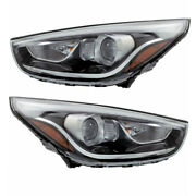 Fits 14-15 Tucson Front Headlight Headlamp Halogen Head Light W/bulb Set Pair