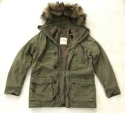 New Hollister Abercrombie Men Wipeout Beach Hooded Coat - Olive Green - S M Xl