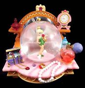 Disneyand039s Tinkerbell Snowglobe With Jewelry And Clock Plays You Can Fly Excellent
