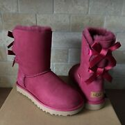 Ugg Short Bailey Bow Ii Garnet Suede Winter Classic Boots Size Us 7 Womens