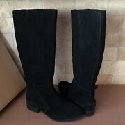 Ugg Leigh Black Suede Equestrian Riding Knee High Zip Tall Boots Size 7 Womens