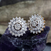 New Collection Solid 14k Yellow Gold Pave Diamond Stud Earrings Designer Jewelry