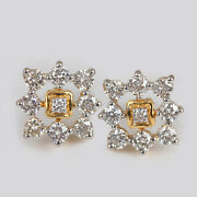 Real Diamond Stud Earrings Solid 14 K Yellow Gold Vintage Style Designer Jewelry