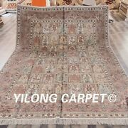 Yilong 9and039x12and039 Pink Hand Knotted Silk Carpet Four Seasons Handmade Area Rugs 018m