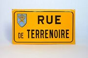Authentic Vintage French Enamelware Street Sign,road Of The Black Earth/soil