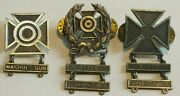 Lot Of 3 Ww2 Us Army Qualification Badges 1/20 Silver Plated, Sterling Silver