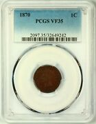 1870 Indian Head Cent Penny 1c Vf35 Pcgs Key Date