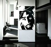 Tupac Shukar Acrylic Painting On Canvas Black And White W/ Faux Diamond Nose Stud
