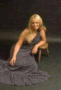 Pretty Long Haired Blonde Lady Leaning On Foot Stool Vtg 1970and039s 35mm Photo Slide
