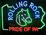 Rolling Rock Pride Of Pa Bar Lamp Glass Beer Neon Light Sign 20x16