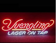 Yuengling Lager On Tap Bar Open Glass Beer Neon Light Sign 20x16