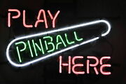New Play Pinball Here Artwork Beer Neon Sign 24x20 Poster Light