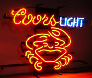 New Coors Light Crab Beer Cerveza Real Glass Handmade Neon Sign 24x20