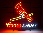 New Coors Light St Louis Cardinals Game Room Neon Sign 24x20 Man Cave Decor