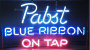 New Pabst Blue Ribbon On Tap Beer Lamp Light Neon Sign 24x20