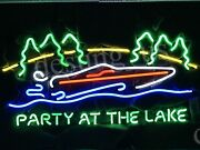 New Lake Party At The Lake Boat Party Time Neon Sign 24x20