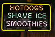 New Hot Dogs Shave Ice Smoothies Beer Wall Decor Light Neon Sign 24x20