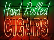 New Hand Rolled Cigars Beer Bar Pub Lamp Neon Sign 24x20