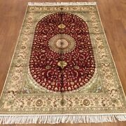 Yilong 4and039x6and039 Red Handmade Carpets Antique Flooring Hand Knotted Silk Rugs 373c