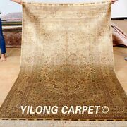 Yilong 5and039x8and039 Golden Silk Rugs Hand Knotted Medallion Floral Carpet Handmade 1000