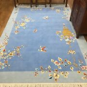 Yilong 6'x9' Nice Blue Hand Knotted Chinese Art Deco Wool Rug Furniture Carpet
